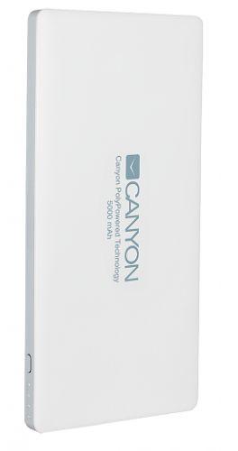 CNS-TPBP5W Аккумулятор внешний универсальный Canyon CNS-TPBP5W Белый (5 000 мАч, lightning, USB, 1.5A/2A, литий-полимерный, индикатор заряда)