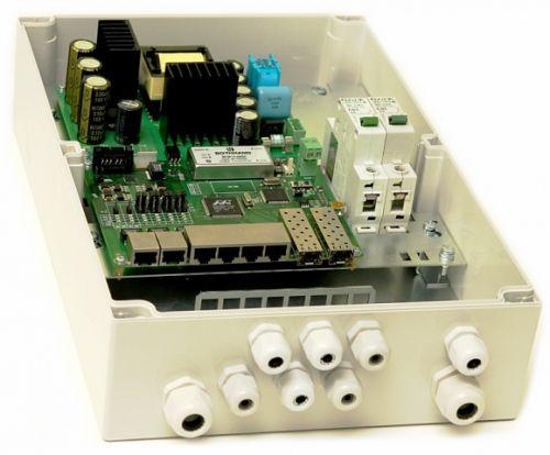 Коммутатор TFortis PSW-2G 6F+ Гигабитный управляемый уличный для подключения 6 камер с встроенным оптическим кроссом с поддержкой РоЕ+ (HighPoE) 802.