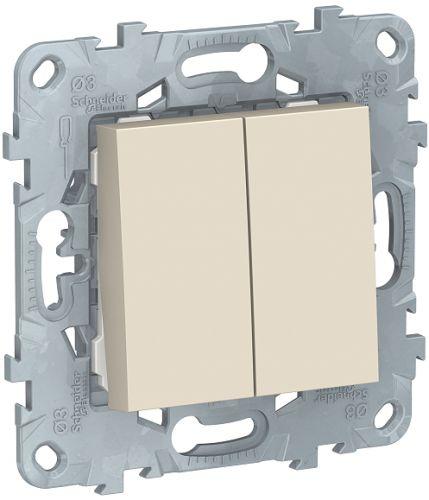 Фото - Выключатель Schneider Electric NU521144 UnicaNew, беж, 2-клавишный, сх. 5, 10 AX, 250В выключатель schneider electric nu520118 unicanew белый 1 клавишный сх 1 10 ax 250в