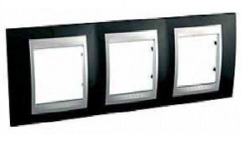 Рамка Schneider Electric MGU66.006.093 Unica Top 3 поста, IP20 (родий/алюминий)