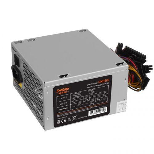 Блок питания ATX Exegate UNS600 ES261570RUS 600W, 12cm fan, 24p+4p, 6/8p PCI-E, 3*SATA, 2*IDE, FDD блок питания atx exegate uns400 es261567rus 400w 12cm fan 24p 4p 3 sata 2 ide fdd
