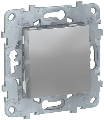 Фото - Переключатель Schneider Electric NU520330 UnicaNew, алюминий, 1-клавишный, сх. 6, 10 AX, 250В выключатель schneider electric nu520118 unicanew белый 1 клавишный сх 1 10 ax 250в