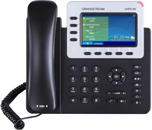 Телефон VoiceIP Grandstream GXP-2140 4 SIP линии, 2 Gigabit Ethernet порта, PoE, цветной экран, Bluetooth