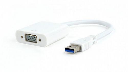 Адаптер переходник Cablexpert AB-U3M-VGAF-01-W белый, USB3-VGA, 1920х1080/60Hz, 15см