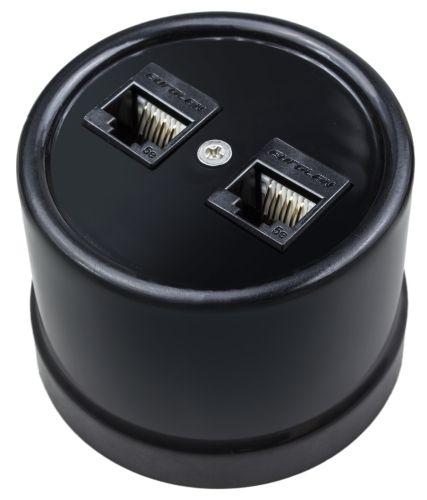 Розетка Bironi B1-302-23 пластик, черный, компьютерная 2-ая (RJ45)