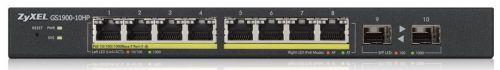 Коммутатор управляемый ZYXEL GS1900-10HP-EU0101F интеллектуальный High Power PoE Gigabit Ethernet с 8 разъемами RJ-45 (77W)