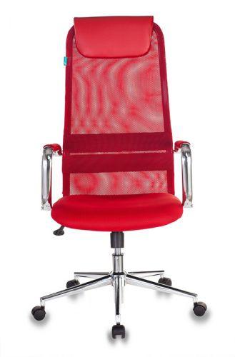 Кресло Бюрократ KB-9N руководителя, цвет красный TW-35N TW-97N сетка/ткань с подголов. крестовина металл хром