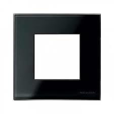 Рамка ABB N2271 CN 2CLA227100N3101 Nie Zenit 1-постовая, 2-модульная, IP20 (черное стекло) рамка abb 4 постовая zenit антрацит