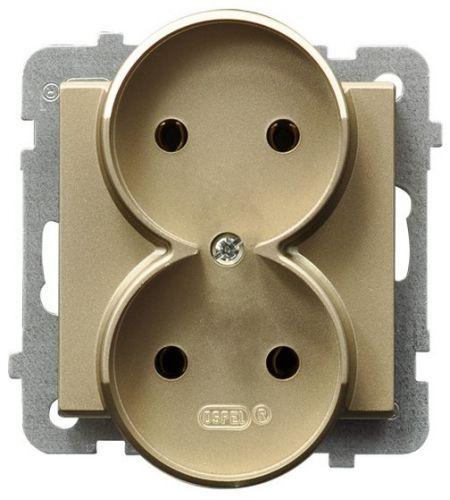 Розетка Ospel GP-2RR/m/39 двойная, 16A, 250V, 3520W, IP-20, клеммы винтовые, шампанский золотой