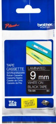 Наклейка Brother TZE325 Наклейка ламинированная TZ-E325 (9 мм бел/черн) наклейка