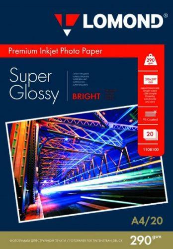Бумага Lomond 1108100 суперглянцевая, A4, 290 г/м2, 20 листов
