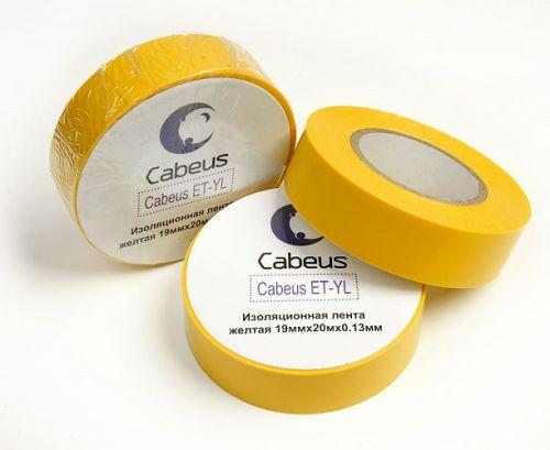 Изолента Cabeus ET-YL желтая 19ммх20мх0.13мм