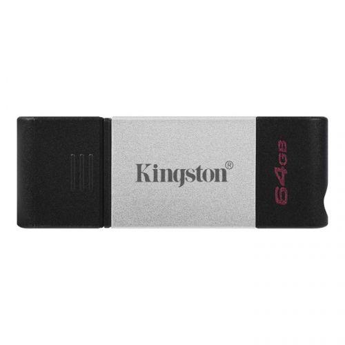 Накопитель USB 3.1 64GB Kingston DataTraveler 80 DT80/64GB OTG USB Type-C, черный/серебристый usb flash накопитель 64gb kingston datatraveler generation 4 dtig4 64gb usb 3 0 бело фиолетовый