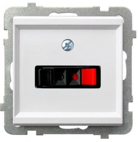 Розетка Ospel GG-1R/m/00 для динамиков, одинарная, подключаемость проводов 0, 75мм2, белый
