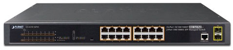 Фото - Коммутатор PoE Planet GS-4210-16P2S IPv6/IPv4, 16-Port Managed 802.3at POE+ Gigabit Ethernet Switch + 2-Port 100/1000X SFP (220W) 24 ports poe switch with 2 gigabit sfp port 400w poe switch 24 port full gigabit switch