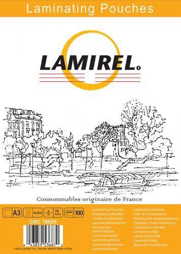 Пленка Fellowes LA-78655 для ламинирования Lamirel А3, 75мкм, 100шт