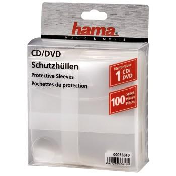 Конверт для CD/DVD HAMA H-33810 00033810 полипропилен, 100 шт., прозрачный