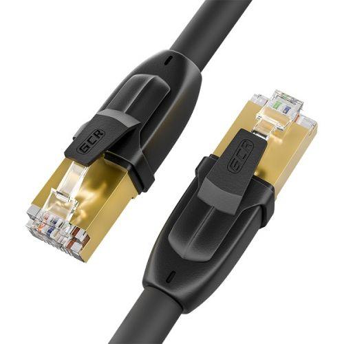Кабель патч-корд FTP 7 кат. 1.0м. GCR GCR-52559 ethernet, RJ45, CU, 28 AWG, литой, прямой , черный, экранированные коннекторы