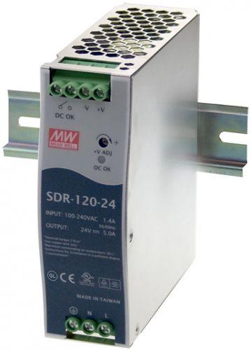 Преобразователь AC-DC сетевой Mean Well SDR-120-24 вых: 120 Вт; Выход: 24 В; U1: 24 В; Стабилизация: напряжение; Вход: 110/220В авто; Конструктив: на