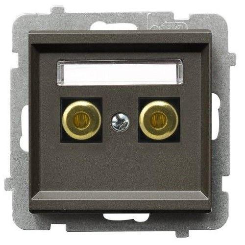Розетка Ospel GGN-1R/m/40 для динамиков, одинарная, шоколадный металлик