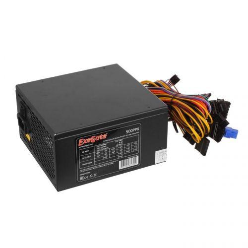 Блок питания ATX Exegate 500PPX EX221641RUS 500W RTL, black, APFC, 14cm, 24p+(4+4)p PCI-E,4*IDE,5*SATA, FDD