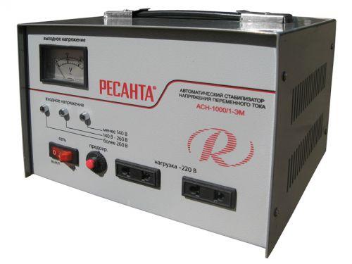 Ресанта Стабилизатор Ресанта АСН-1000/1-ЭМ (63/1/2) мощн 1000 Вт; вх напр 140-260 В; вых напр 216-224 В; точн стабилизации 2% (Ресанта АСН-1000/1-ЭМ)