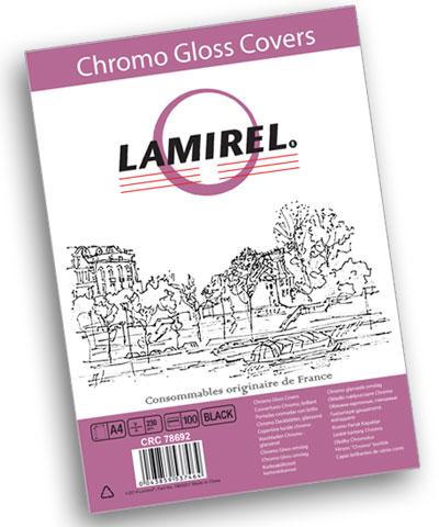 Обложка Fellowes LA-78692 Lamirel Chromolux A4, картонные, глянцевые, черный, 230г/м², 100шт