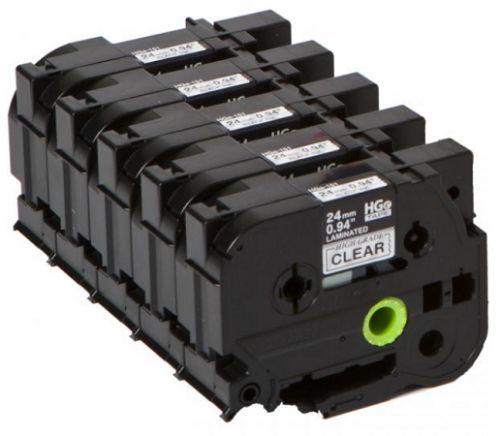 Лента Brother HGE-151V5 Плёнка для наклеек Brother HGE-151V5 прозрачная (чёрный шрифт), 24мм*8м, упаковка 5штук, повышенная скорость/разрешение на PT9