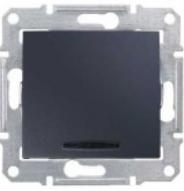 Фото - Выключатель Schneider Electric SDN1400170 Sedna 1-клавишный с синей подсветкой 10A, 250В, IP20 (сх.1а) (графит) выключатель schneider electric nu520118 unicanew белый 1 клавишный сх 1 10 ax 250в