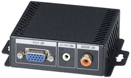 Преобразователь SC&T VH01E VGA и аудиосигнала в HDMI сигнал/1920x1200(60Гц)/цифровой коаксиальный вход S/PDIF поддерживает аудиорежим LPCM 16бит 48кГц аксессуар palmexx hdmi vga px hdmi vga