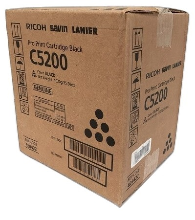 Картридж Ricoh Pro Print Cartridge Black C5200 828426 Тонер черный тип C5200. Ресурс 33 000 отп (A4, 8,75% заполнения), ресурс 57 750 отп (A4, 5% запо