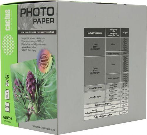 Фотобумага Cactus CS-GA6230500 10x15/230г/м2/500л./белая, глянцевая для струйной печати фотобумага cactus cs ga623050ed 10x15 230г м2 50л белый глянцевая для струйной печати
