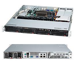 "Supermicro Корпус серверный 1U Supermicro CSE-813MTQ-R400CB (4x3.5"" HS Bays, 4xSATA/SAS port, DVD-opt., 12""x10"" ATX, 1xFH, 2x400W, rail)"