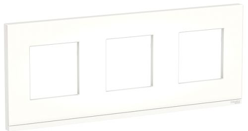 Рамка Schneider Electric NU600689 Unica Pure, матовое стекло/белая, 3-ная горизонтальная