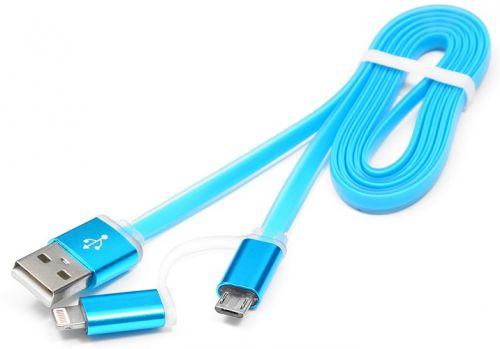 Кабель интерфейсный USB 2.0 Cablexpert CC-mAPUSB2bl1m AM/microBM 5P - iPhone lightning, 1м, комбо кабель, алюмин