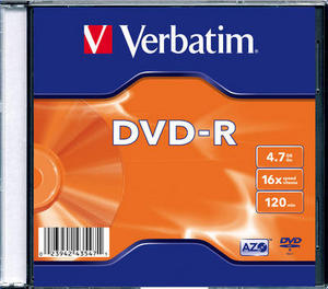 Диск DVD-R Verbatim 43547 4.7ГБ, 16x, 1 шт., Slim Case (910081)