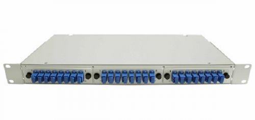 Кросс оптический стоечный 19 стационарный 1U TELCORD КСу-24-1U 24-LC/SM-d-48-LC/UPC-SM-2-КУ-GY 24 адаптера LC/SM, 48 пигтейлов LC/UPC SM (OS2 9/125),