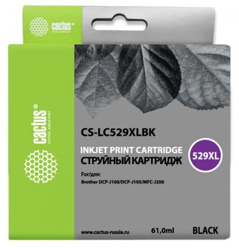 Картридж Cactus CS-LC529XLBK черный (61мл) для Brother DCP-J100/J105/J200
