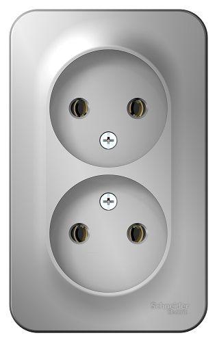 Розетка Schneider Electric BLNRA000203 2-ая б/з без шторок, 16А, 250В Алюминий наруж
