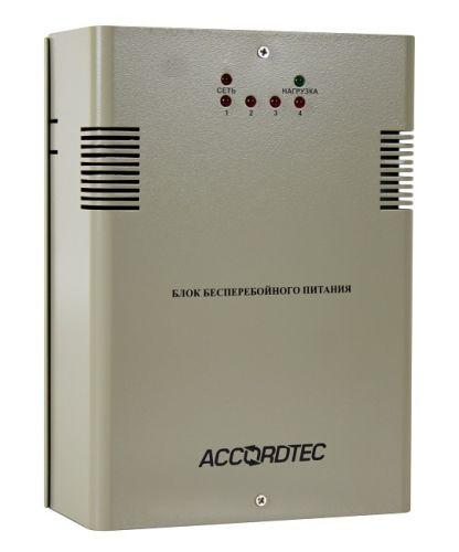 Источник бесперебойного питания AccordTec ББП-40 v.4 в металлическом корпусе под АКБ 7 Ач, 4-х канальный с защитой каждого канала от перегрузки и КЗ,