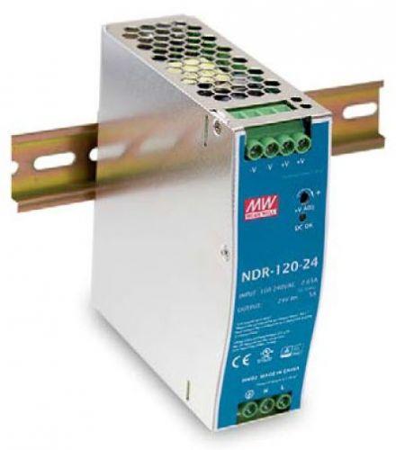 Преобразователь AC-DC сетевой Mean Well NDR-120-24 120Вт, вход 90…264V AC, 47…63Гц /127…370В DC, выход 24В/5A, рег. вых 24…28В, изоляция 3000В AC, в к