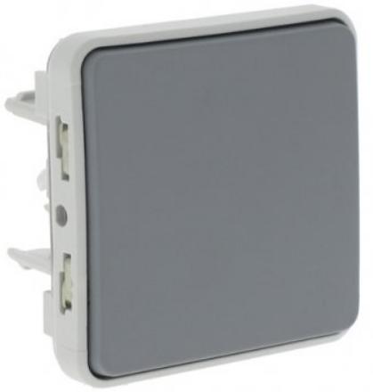 Выключатель Legrand 69540 Plexo кнопочный в рамку 10А IP55 (серый)