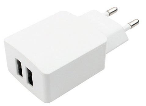 Зарядное устройство сетевое Cablexpert MP3A-PC-13 100/220V-5V, USB 2 порта, 2.1A, белый