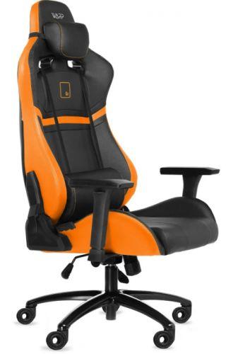 Кресло WARP SG чёрно-оранжевое (карбон, экокожа, алькантара, регулируемый угол наклона, механизм качания)