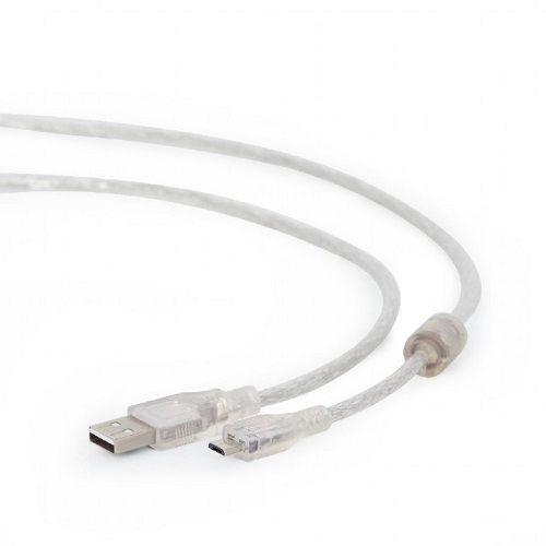 Кабель интерфейсный USB 2.0 Cablexpert CCP-mUSB2-AMBM-6-TR , Pro , AM/microBM, 1,8м, экран, феррит.кольцо, прозрачны