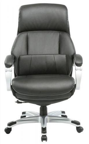 Кресло Бюрократ _Miro подставка для ног, черный, кожа/кожзам