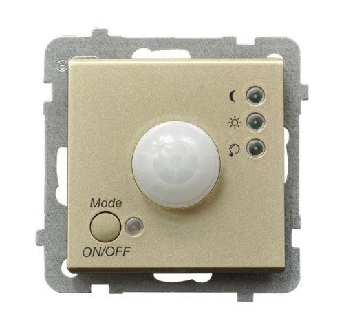 Датчик движения Ospel LP-16R/m/39 электронный, 230V, IP-20, клеммы винтовые, шампанский золотой