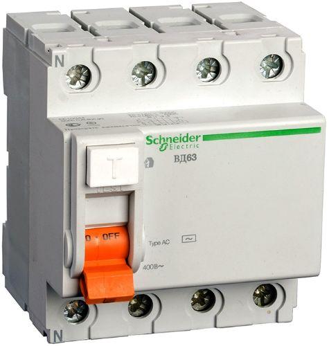 Фото - Выключатель Schneider Electric 11463 дифференциального тока (УЗО) 4п 40А 30мА ВД63 АС (серия Домовой) выключатель schneider electric 11463 дифференциального тока узо 4п 40а 30ма вд63 ас серия домовой