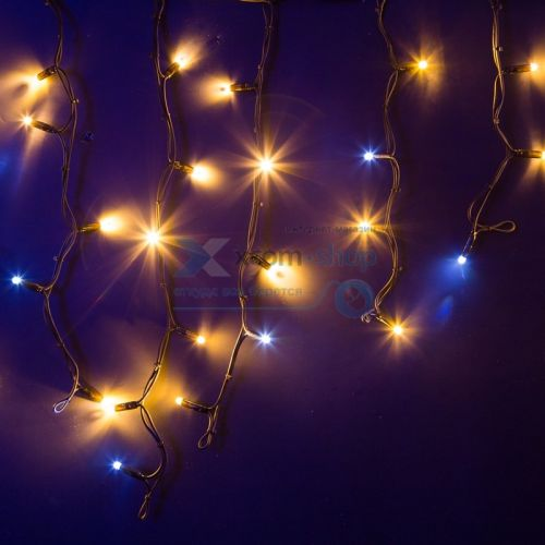 Фото - Гирлянда NEON-NIGHT 255-236 айсикл (бахрома) светодиодный, 4,0 х 0,6 м, с эффектом мерцания, черный провод каучук, 230 В, диоды тепло-белые, 128 LED гирлянда neon night бахрома айсикл 255 245 560х90 см 240 ламп белый черный провод