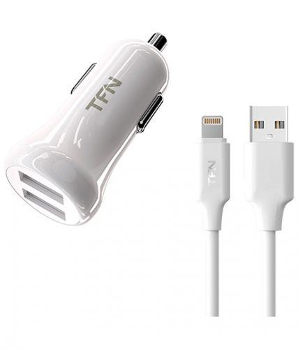 Зарядное устройство автомобильное TFN CC2U24ALIGWH 2.4A+8pin white